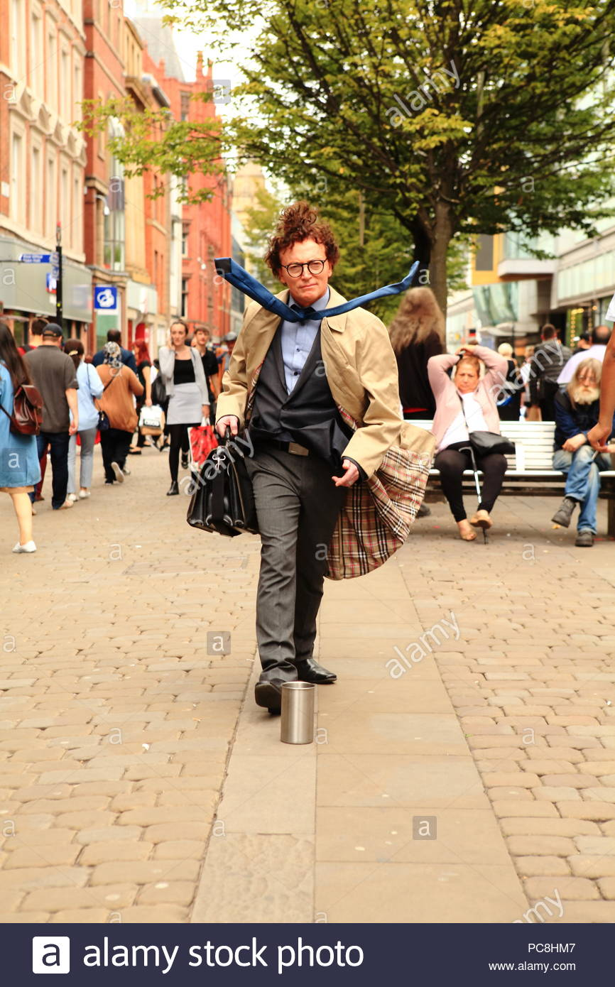 The Windy Man street entertainer at Manchester City Centre UK Summer August 2018 - Stock Image