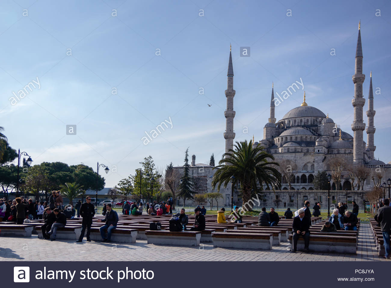 Tourist and locals sitting in a park in front of the Blue Mosque in Istanbul - Stock Image