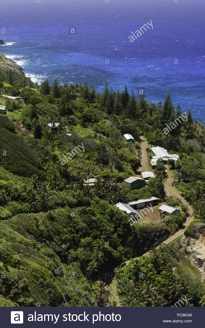 A view of Adamstown from the road up to Highest Point. - Stock Image