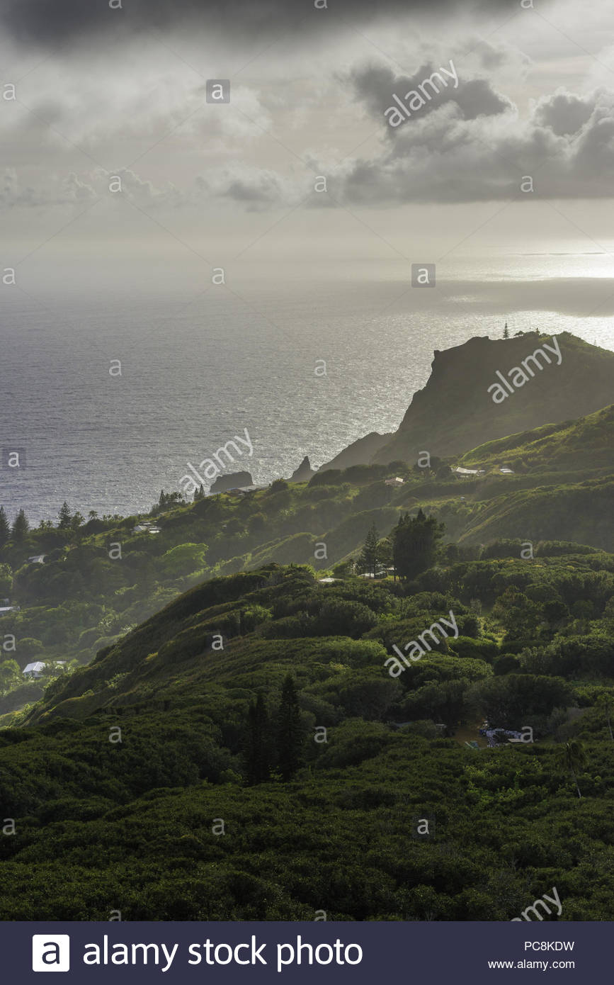 A panoramic view of Adamstown, the island's only settlement, from the road to Highest Point. Stock Photo