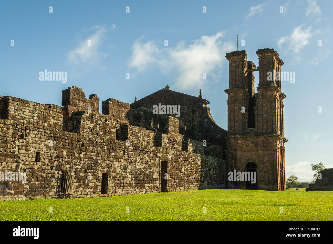 Part of the UNESCO site - Jesuit Missions of the Guaranis: Church, Ruins of Sao Miguel das Missoe, Rio Grande do Sul, Brazil. Stock Photo