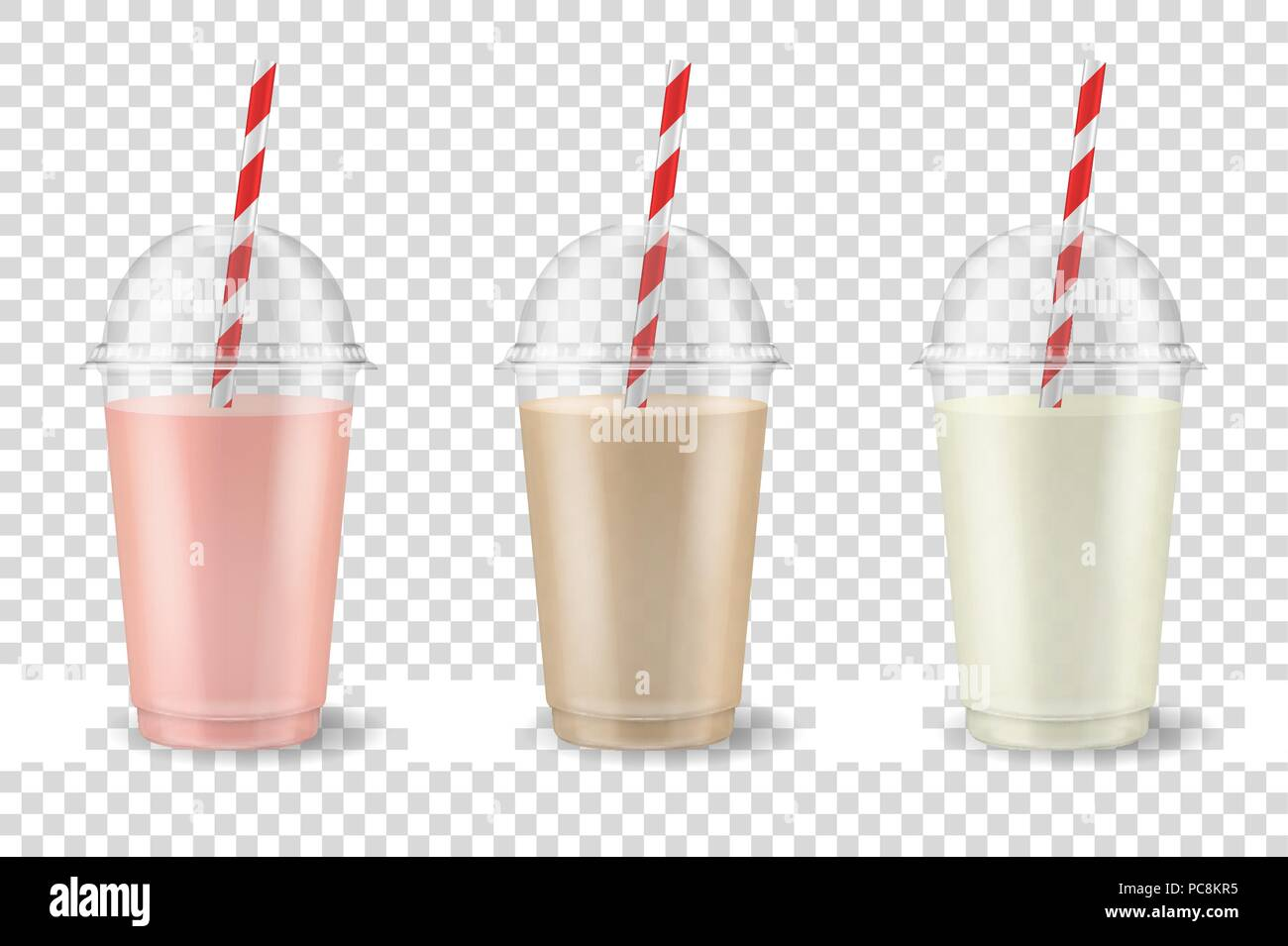 Vector realistic 3d clear plastic disposable transparent cup with pipe set. Fruit and berry smoothies or juice drink - strawberry, raspberry, cherry, banana, chocolate, coffee. Pink, brown and white. Mug of organic shake, cocktail. Vegetarian healthy natural food. Closeup isolated on transparency grid background. Design template of packaging mockup for graphics Stock Vector