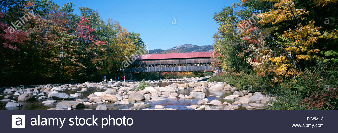The Albany Covered Bridge framed by trees in autumn hues. - Stock Image
