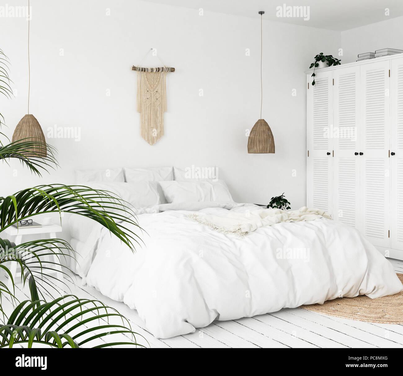 Scandi Boho Interior Style Bedroom 3d Render Stock Photo Alamy