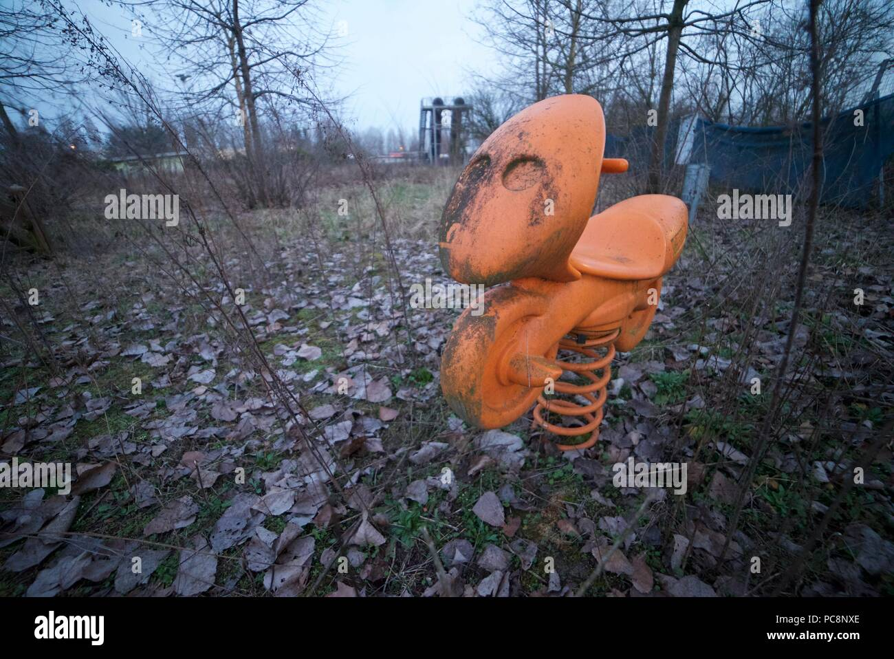 Abandoned Play Park For Children With An Old Springer Toy Eerie And Creepy Abandoned Playground Horror Setting Stock Photo Alamy