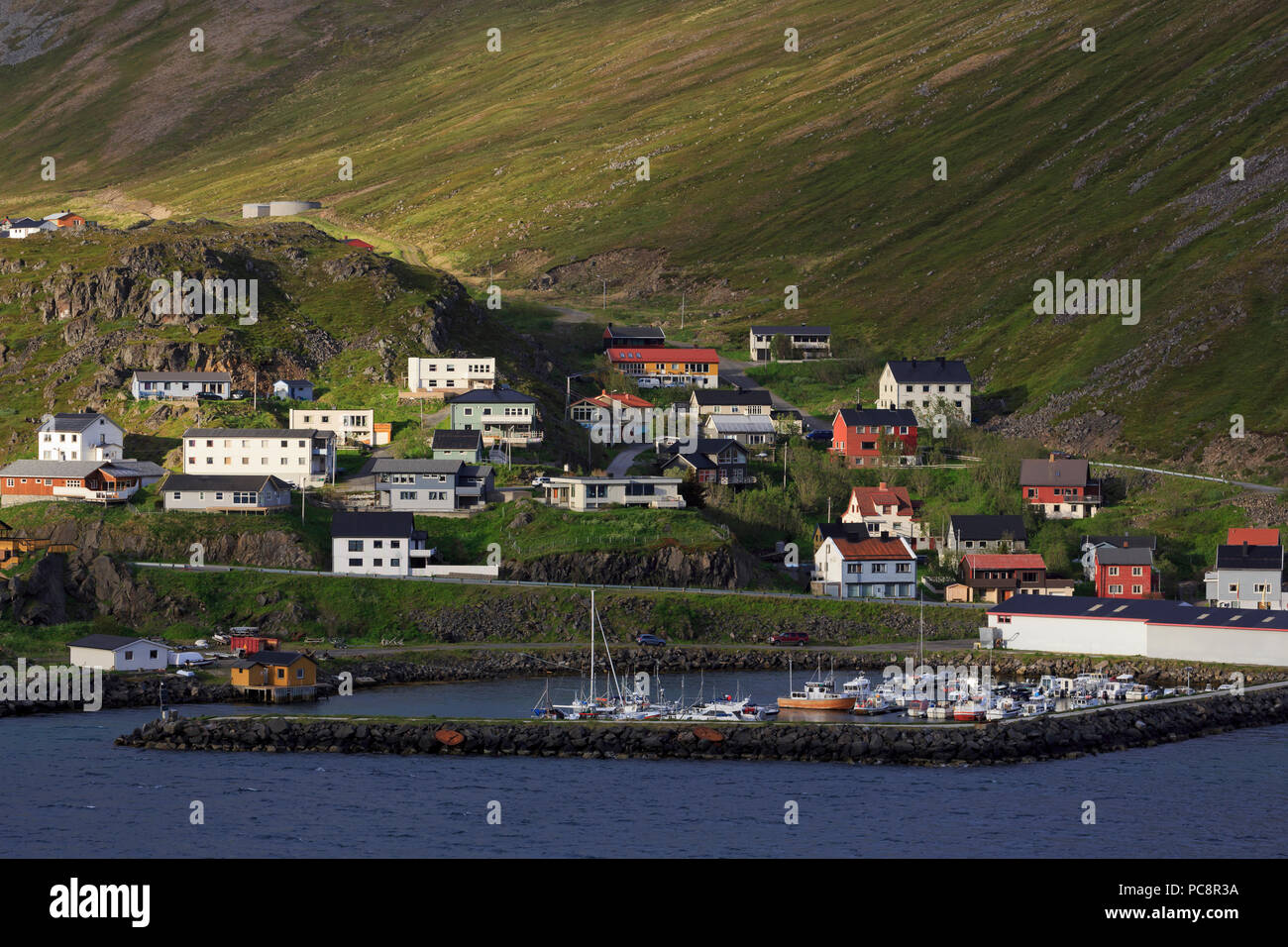 Honningsvag Town,Mageroya Island, Finnmark County, Norway - Stock Image