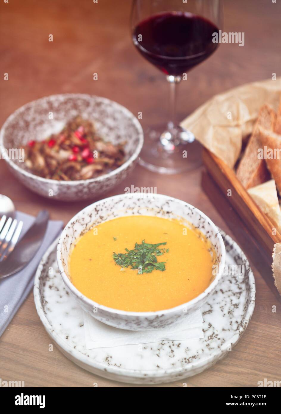 Traditional Georgian Restaurant Food Menu For Dinner Enjoy Exotic Dish From Georgia In Cafe Yellow Corn Soup With Spice Served On Table In Grey Marble Stock Photo Alamy