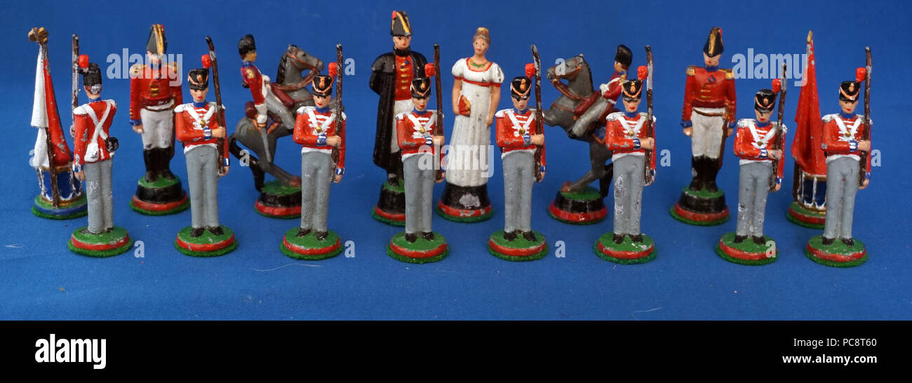 Antique Tin Lead Toy Soldiers Napoleon and Wellington Battle of Waterloo Chess Set Pieces - Stock Image