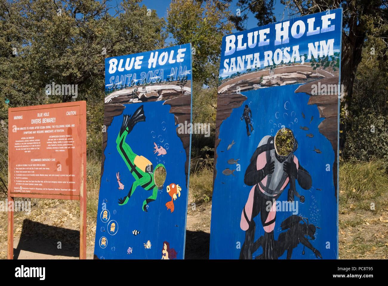 Blue Hole signs at Santa Rosa New Mexico USA - Stock Image
