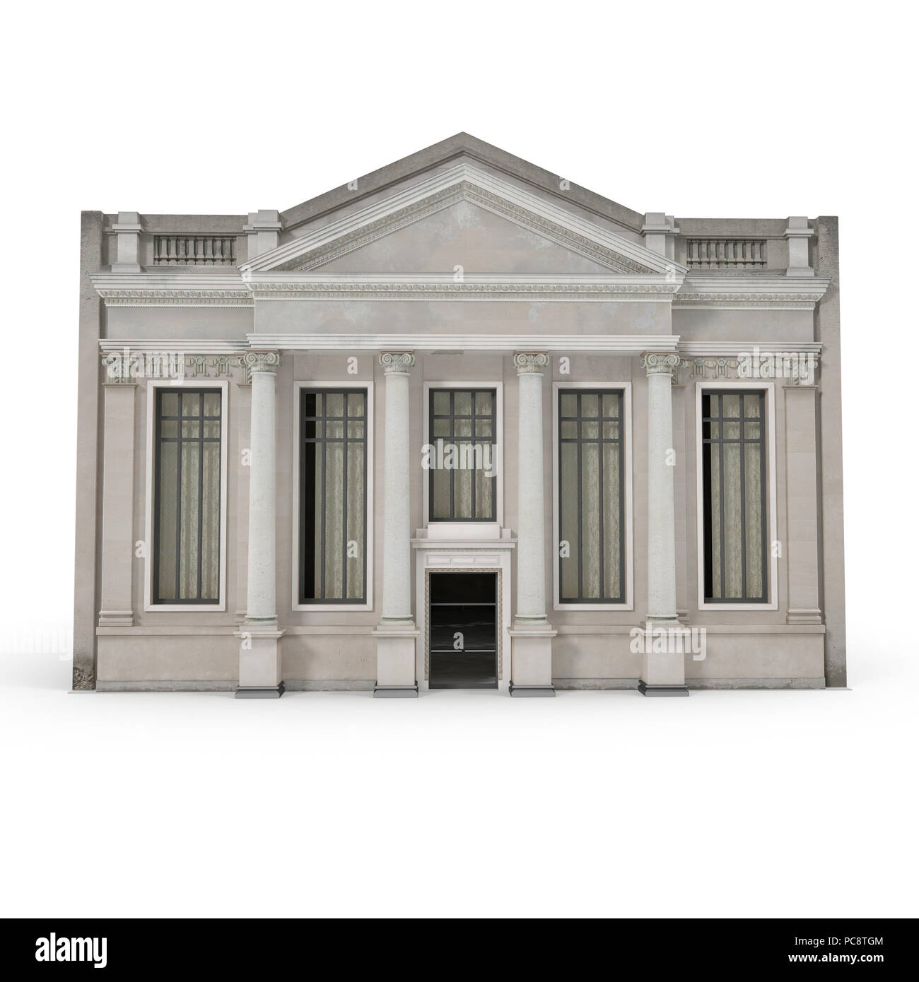 Classic Building with Columns on a white. 3D illustration - Stock Image