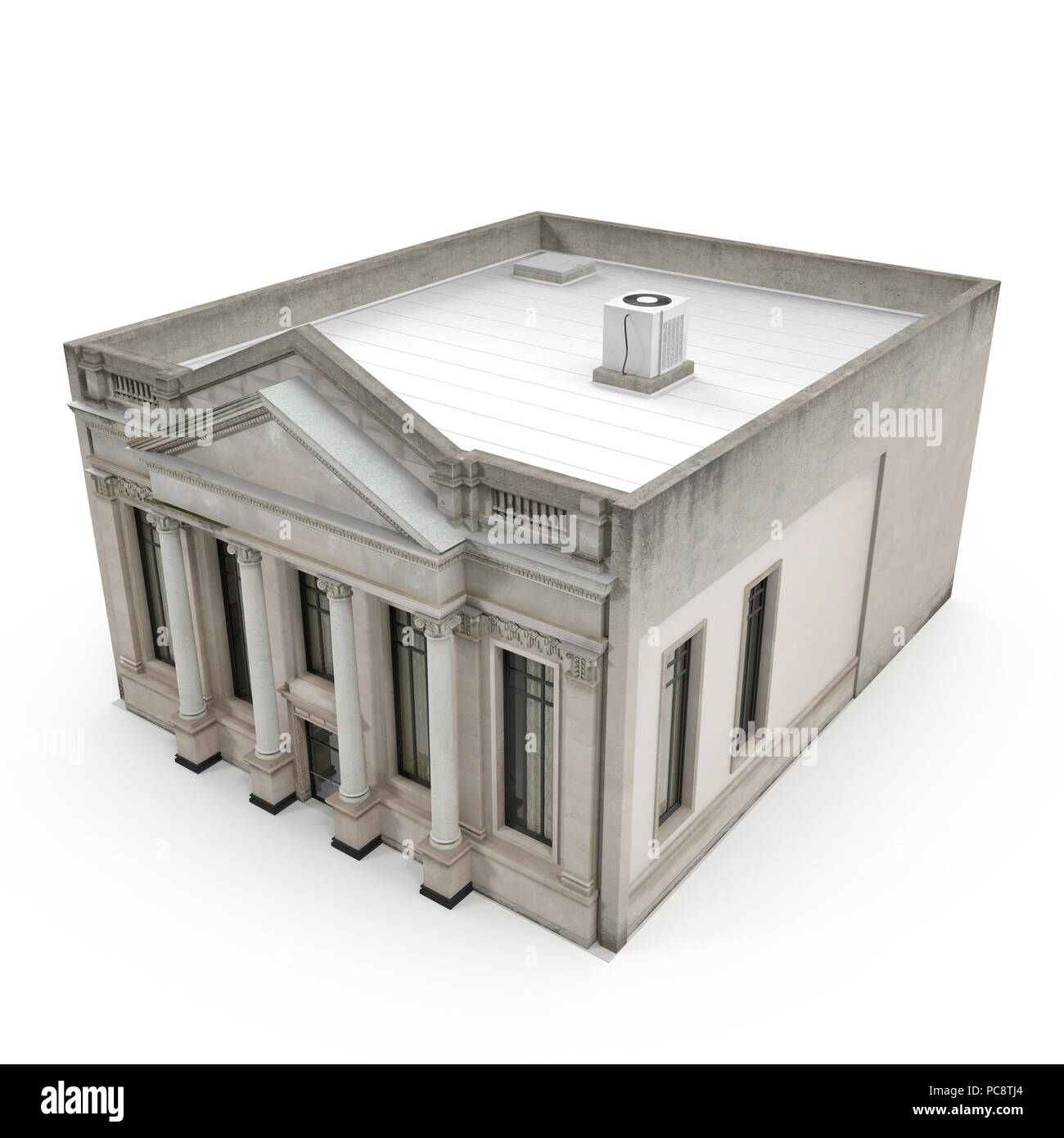 Classic Building with Columns on a white  3D illustration
