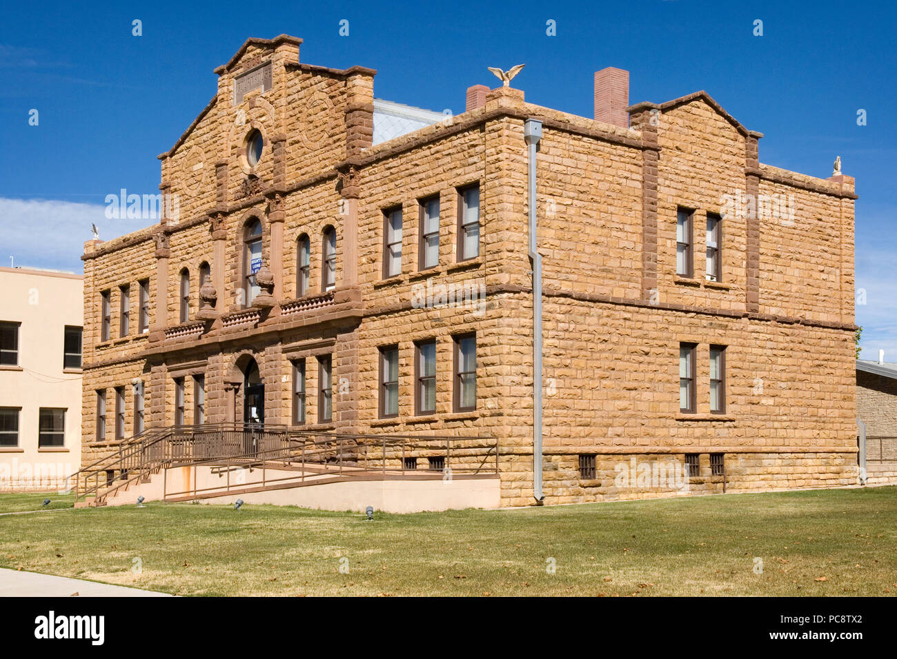 Historical Guadalupe County Courthouse, Santa Rosa New Mexico USA - Stock Image