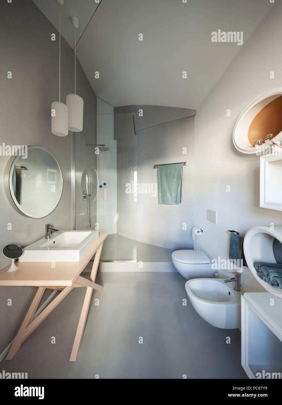 Luxury Apartment, Modern Bathroom With Cement Floor Stock ...
