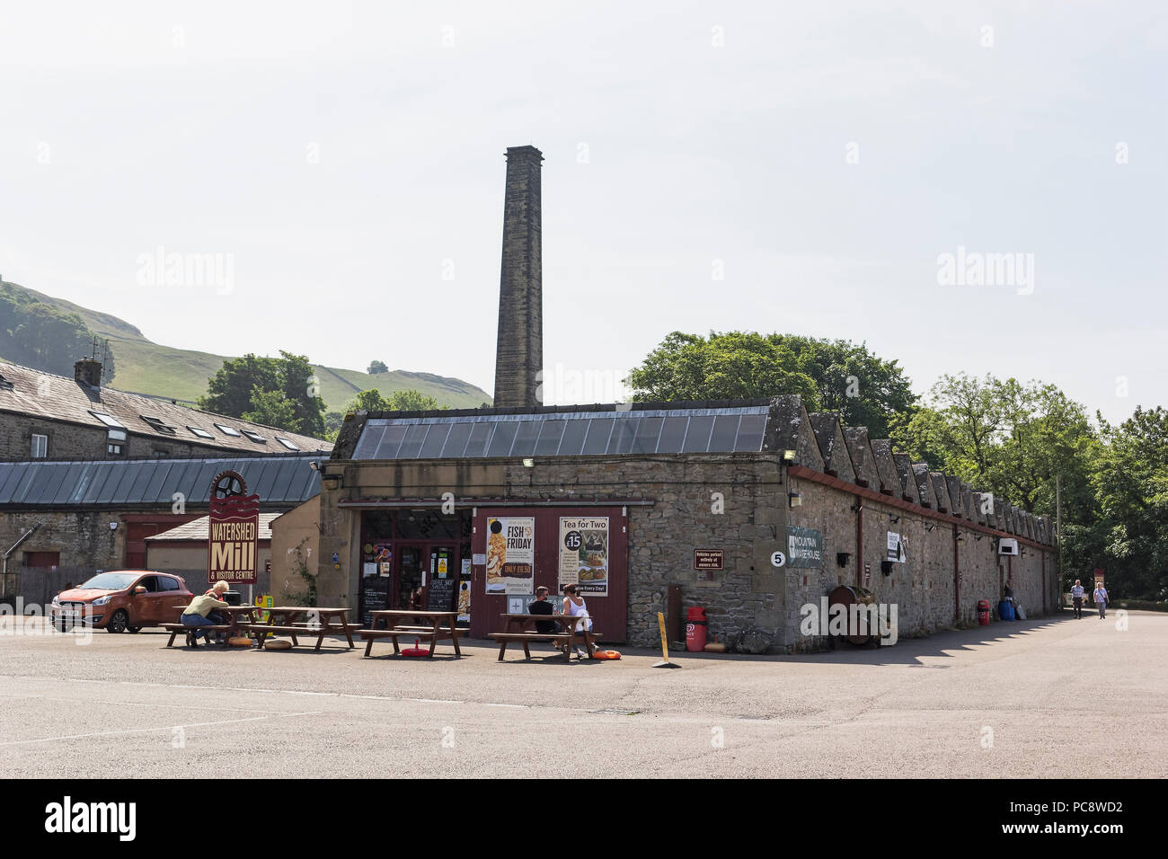 Watershed Mill outdoor shop and cafe at Settle, North Yorkshire, UK - Stock Image
