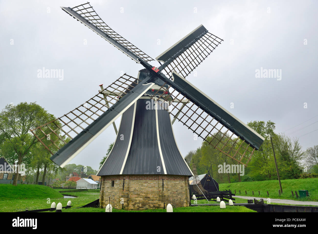 Windmill at the Zuiderzee Museum, Enkhuizen, Holland, Netherlands Stock Photo