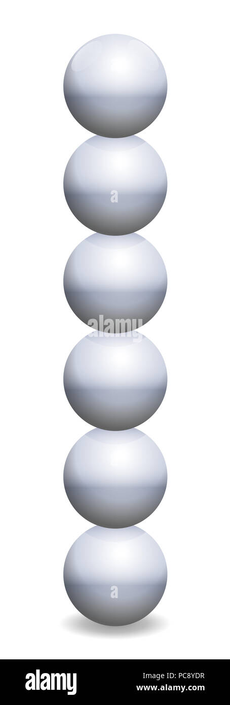 Stacked spheres tower. Six iron balls in unstable balance - illustration on white background. - Stock Image