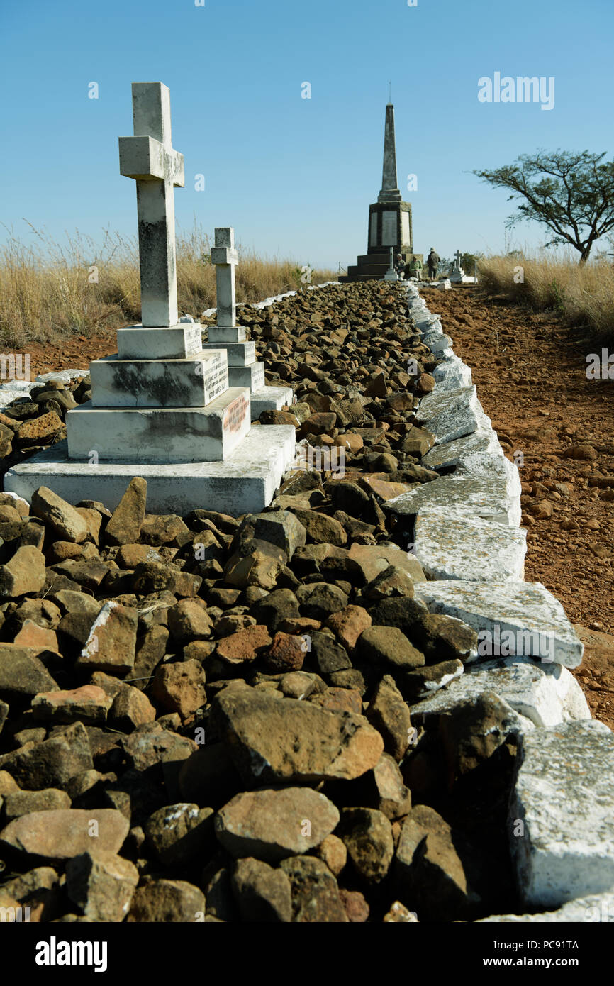 Mass grave of British Imperial soldiers from Liverpool district on the 23 to 24 January 1900 Spion Kop, battlefield of the South African war - Stock Image