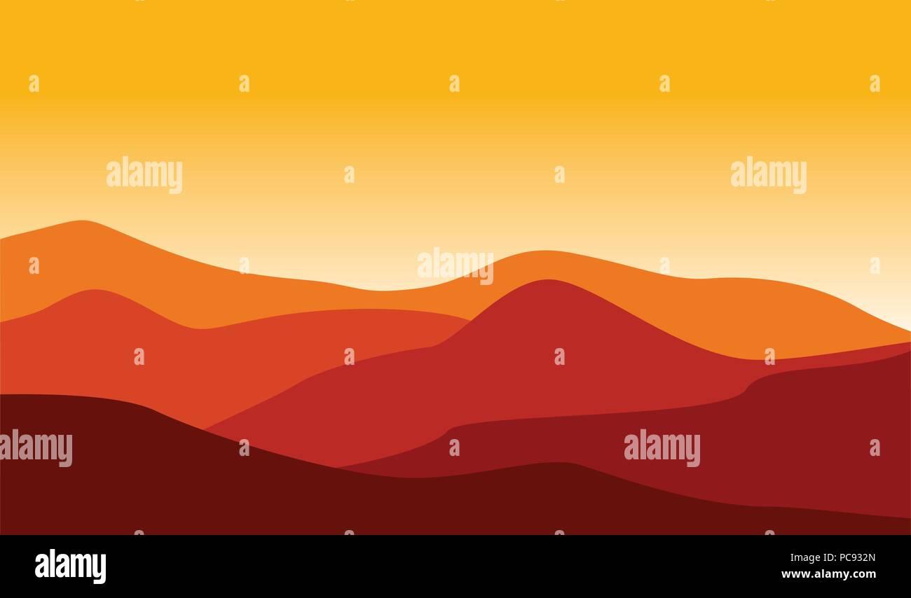 Mountain Desert Landscape Illustration Red Hot Weather - Stock Vector