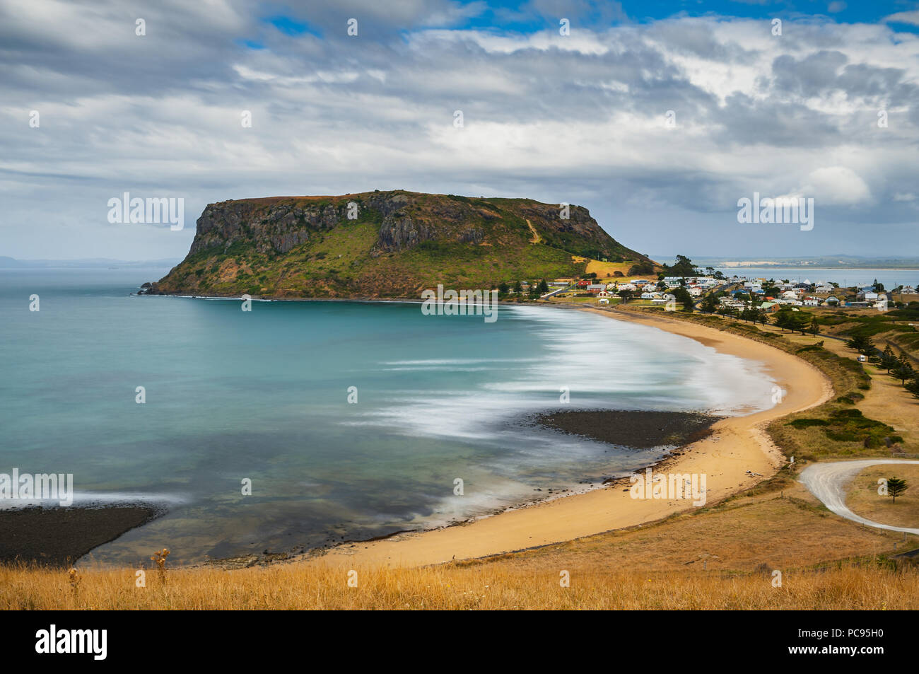 The Nut in Stanley at the north coast of Tasmania. - Stock Image