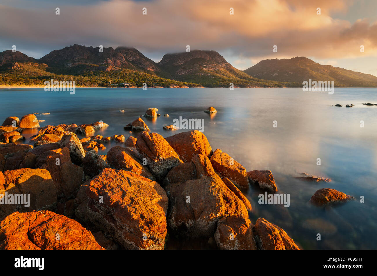 View on the Hazards in Coles Bay. - Stock Image