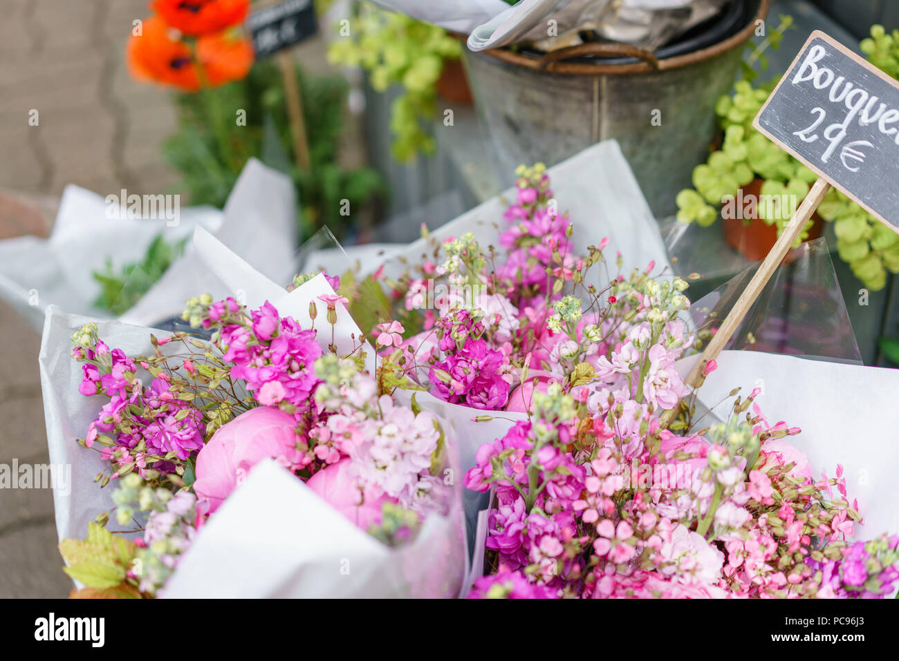 Beautiful Bouquet In Flower Shop Outdoor Working In Flower Shop