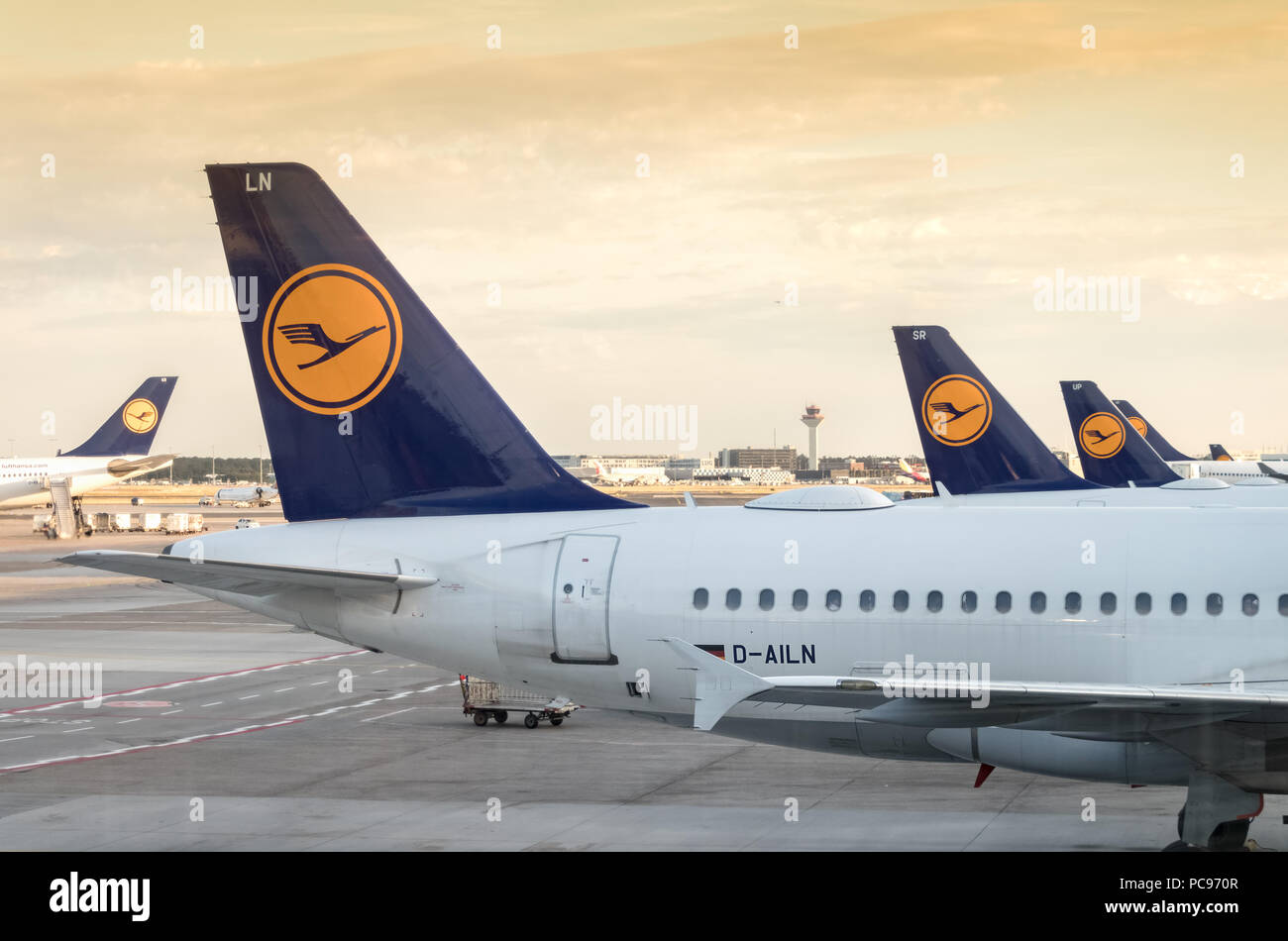 Frankfurt, Germany - July 3th, 2018: View of the tail wings back of a group of Lufhansa Airplanes at Frankfurt Airport. - Stock Image