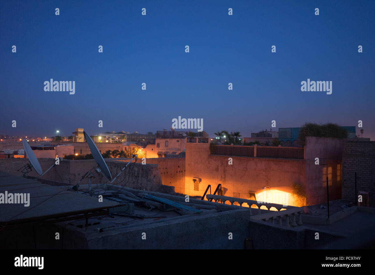 marrakech by night seen from rooftop morocco travel tourism Stock Photo