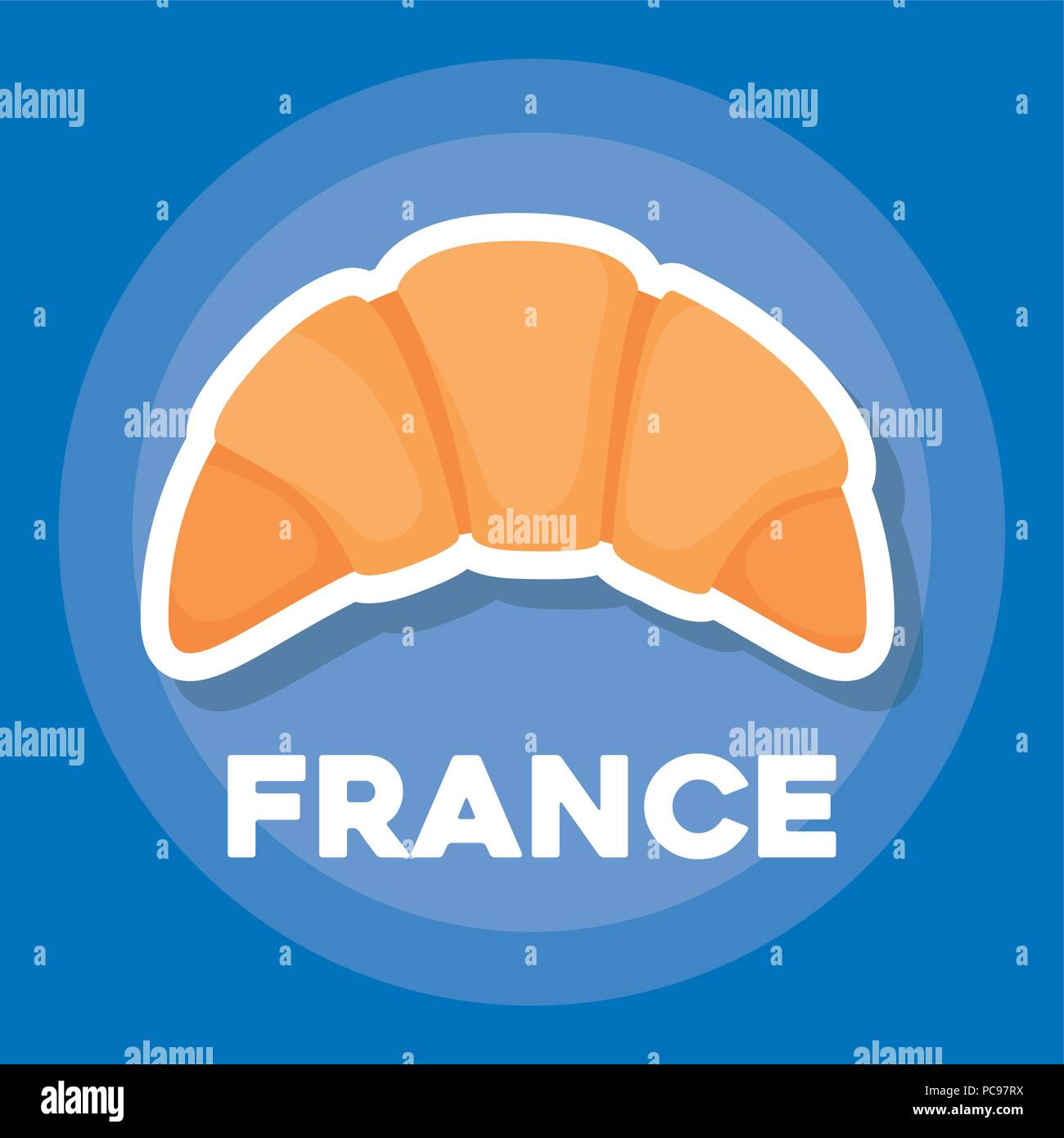 france culture design with croissant icon over blue background, colorful design. vector illustration - Stock Image