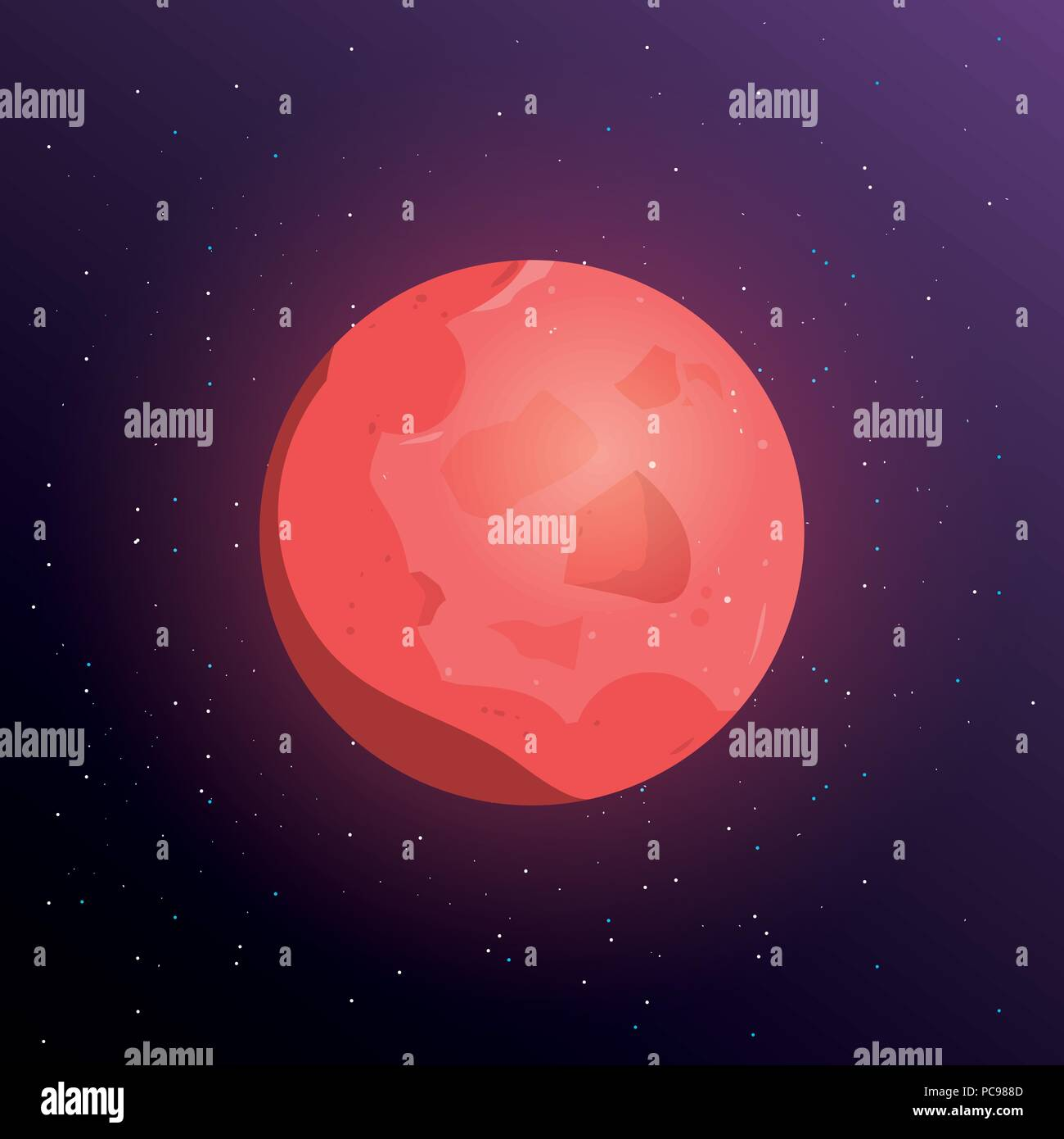Mars planet icon over space background, colorful design. vector illustration - Stock Vector