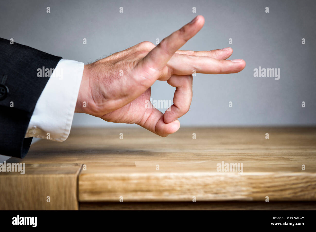 businessman,hand sign,snap - Stock Image