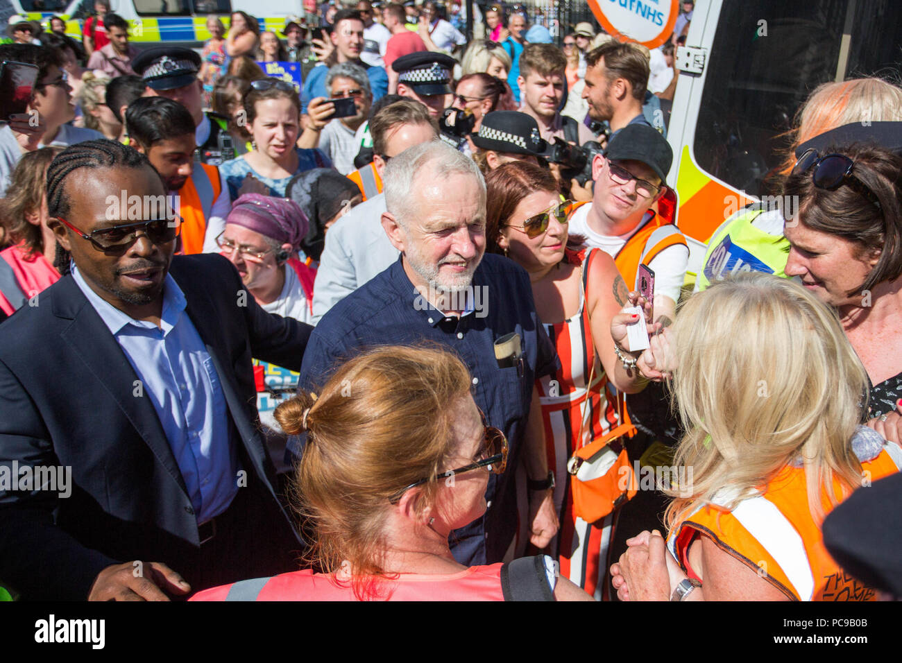 Tens of thousands of people join a huge demonstration to mark the 70th anniversary of the National Health Service.  Featuring: Jeremy Corbyn MP Where: London, England, United Kingdom When: 30 Jun 2018 Credit: Wheatley/WENN - Stock Image