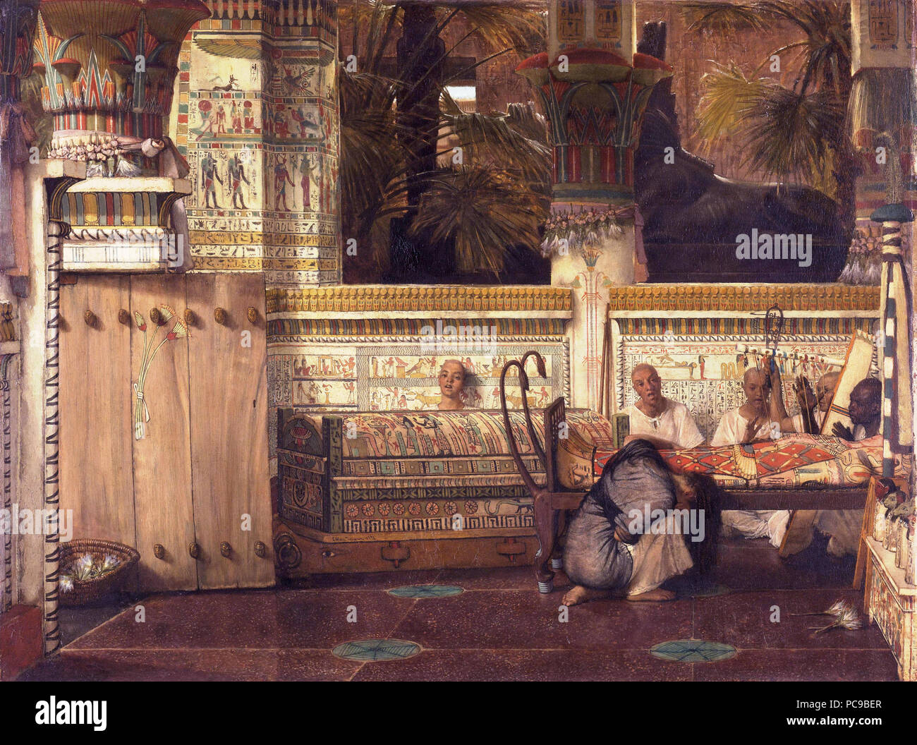 Egyptian temple with a kneeling grieving widow. Priests sing and play harp near the body of the deceased.  *oil on panel  *74.9 x 99.1 cm  *signed: L. Alma Tadema 1872 58 Lourens Alma Tadema - De Egyptische weduwe. Stock Photo