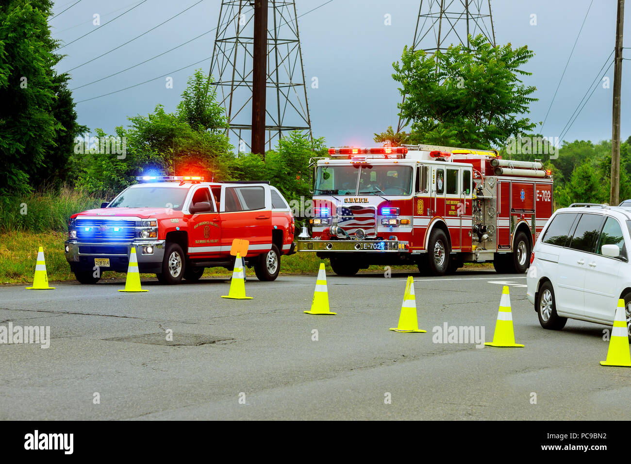 Sayreville NJ USA - Jujy 02, 2018: Emergency service damaged