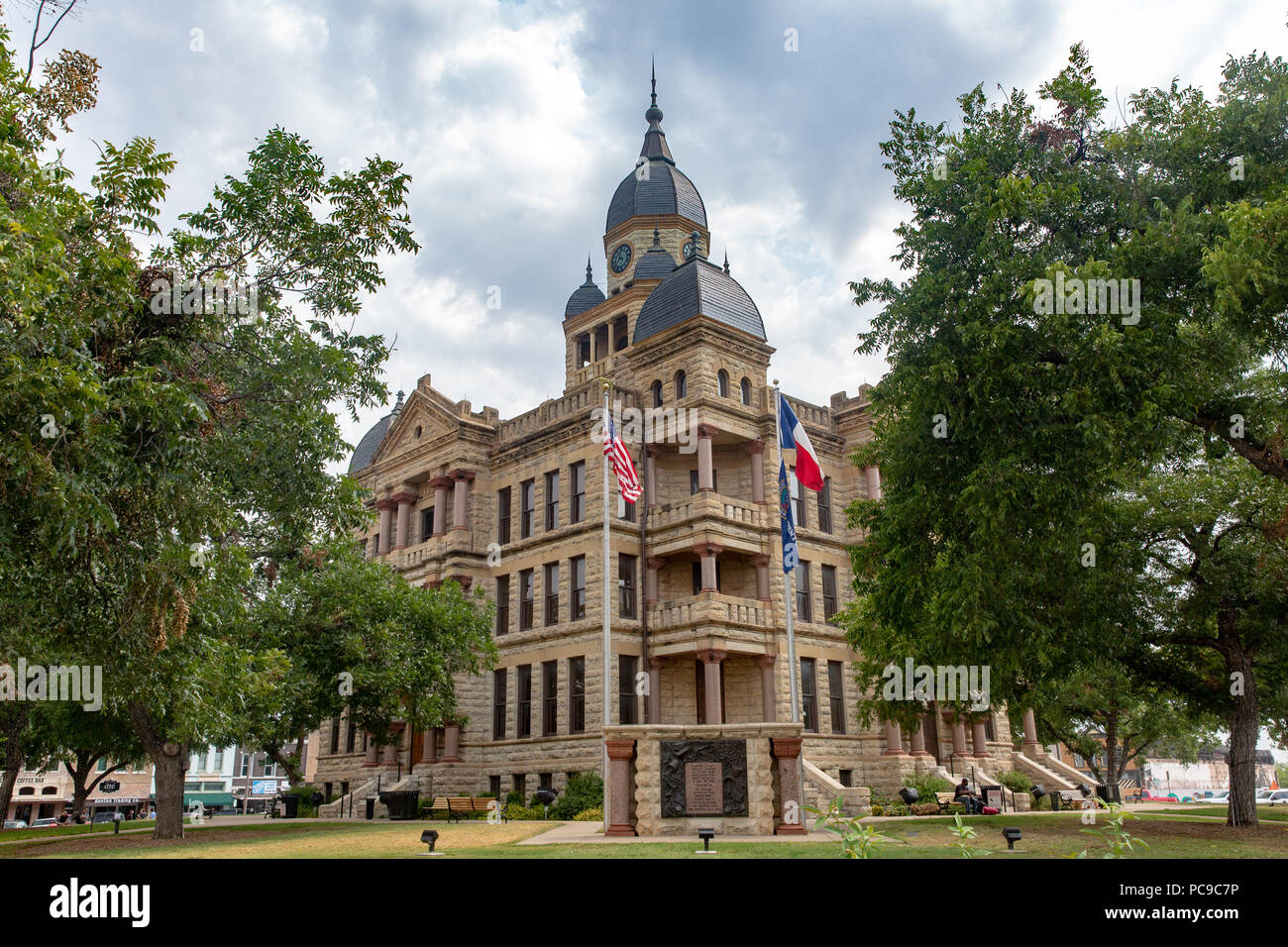 The historic 1896 Denton county courthouse located in Denton Texas built in Romanesque Revival style - Stock Image