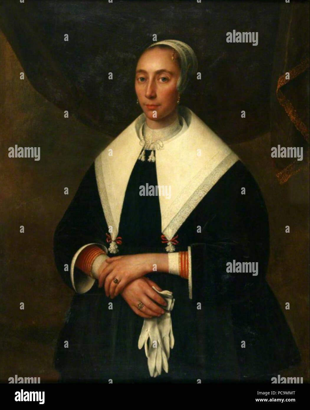 498 Portret van een vrouw met handschoenen Abraham Liedts (1604 of 1605-1668) - Stock Image