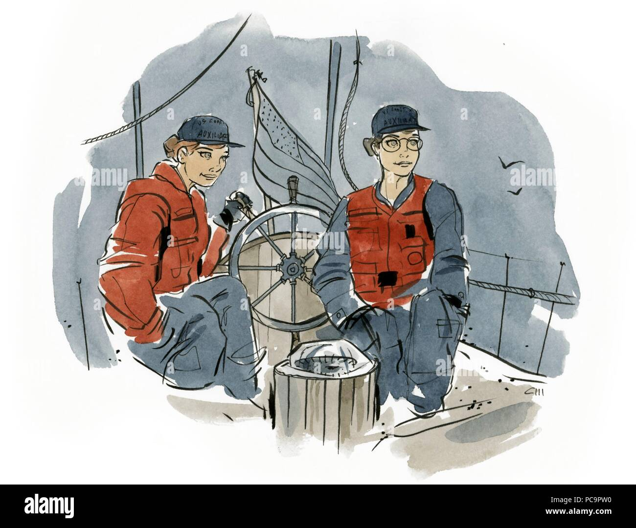 Coast Guard Auxiliarists Nancy Schimmelman and Cheryl Warner sail aboard Gloriana, a 48-foot schooner and Coast Guard Auxiliary platform, in the San Francisco Bay, July 24, 2018. The schooner, built in 1949, is owned and sailed by Schimmelman. (U.S. Coast Guard illustration by Petty Officer 2nd Class Cory J. Mendenhall /Released). () - Stock Image