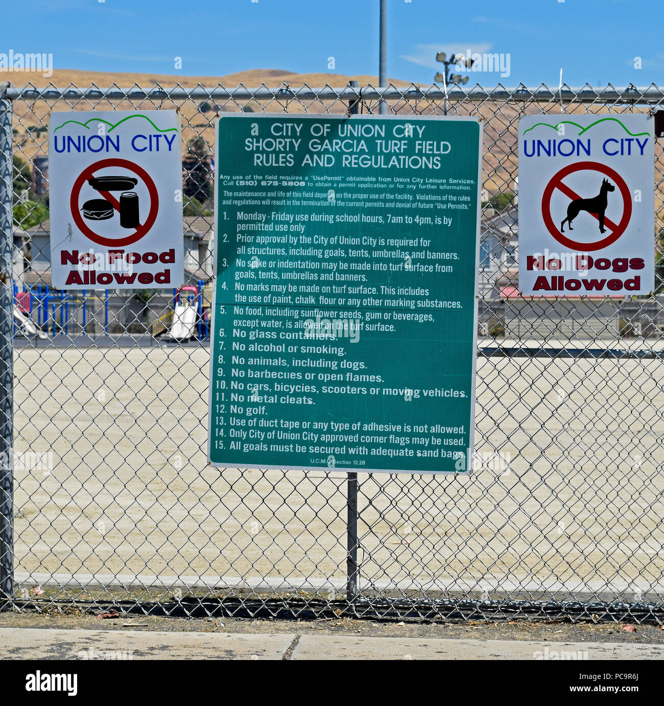 Shorty Garcia Turf Field rules and regulations signs, Union City, California - Stock Image