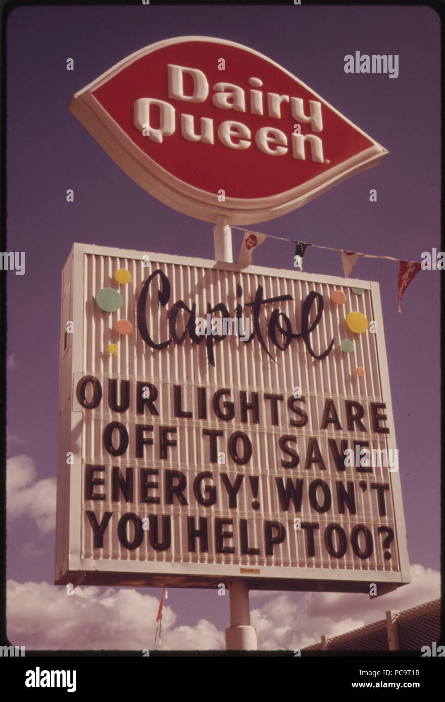 After the oregon governor banned neon and commercial lighting displays firms used their unlit signs to convey energy saving messages which could be seen during the day this shot was taken in portland - Stock Image