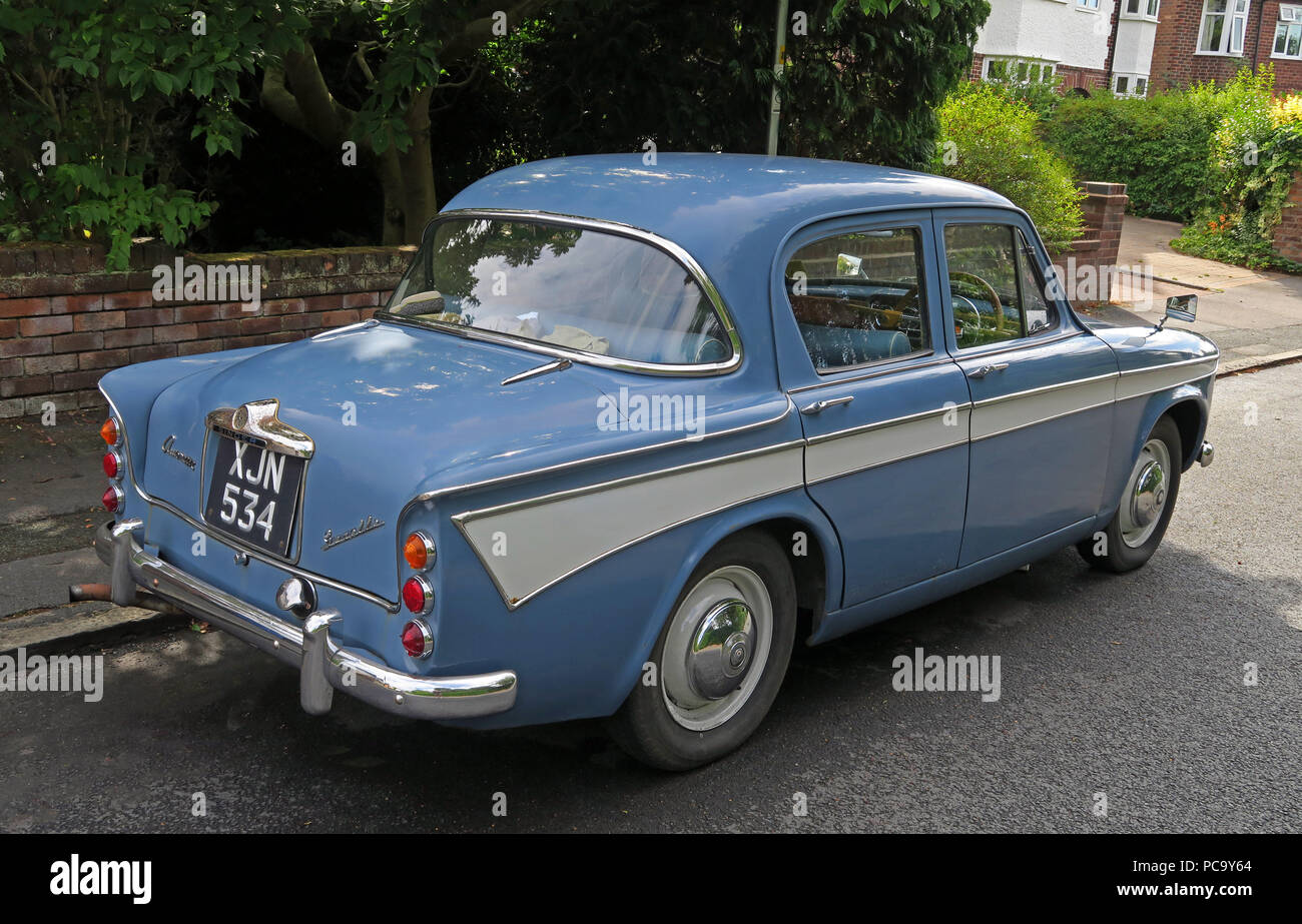 Singer Gazelle classic car, blue, XJN534, in the street, Stockton Heath, Warrington, Cheshire, North West England, UK - Stock Image