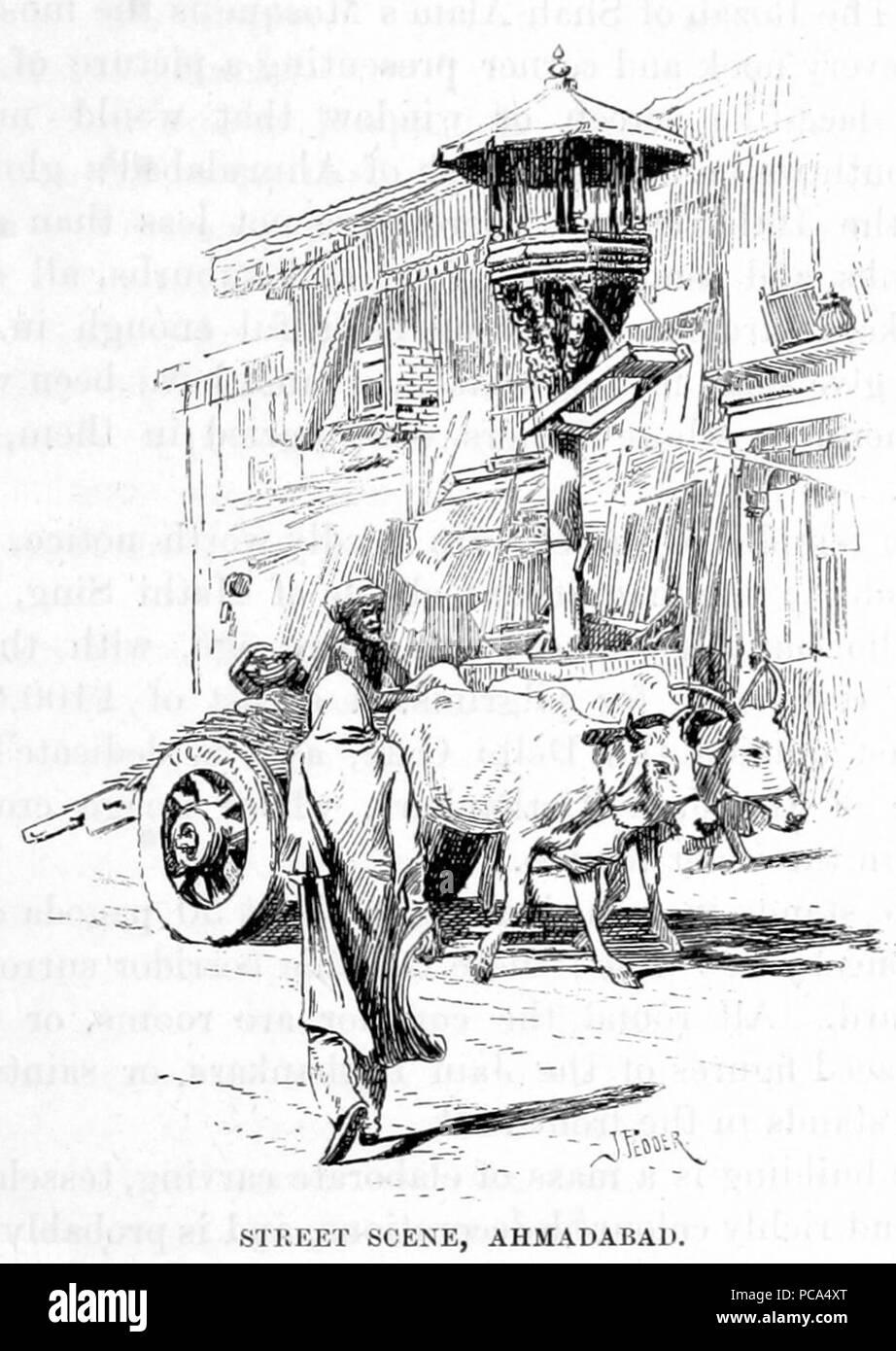 Ahmedabad street scene 1890. - Stock Image