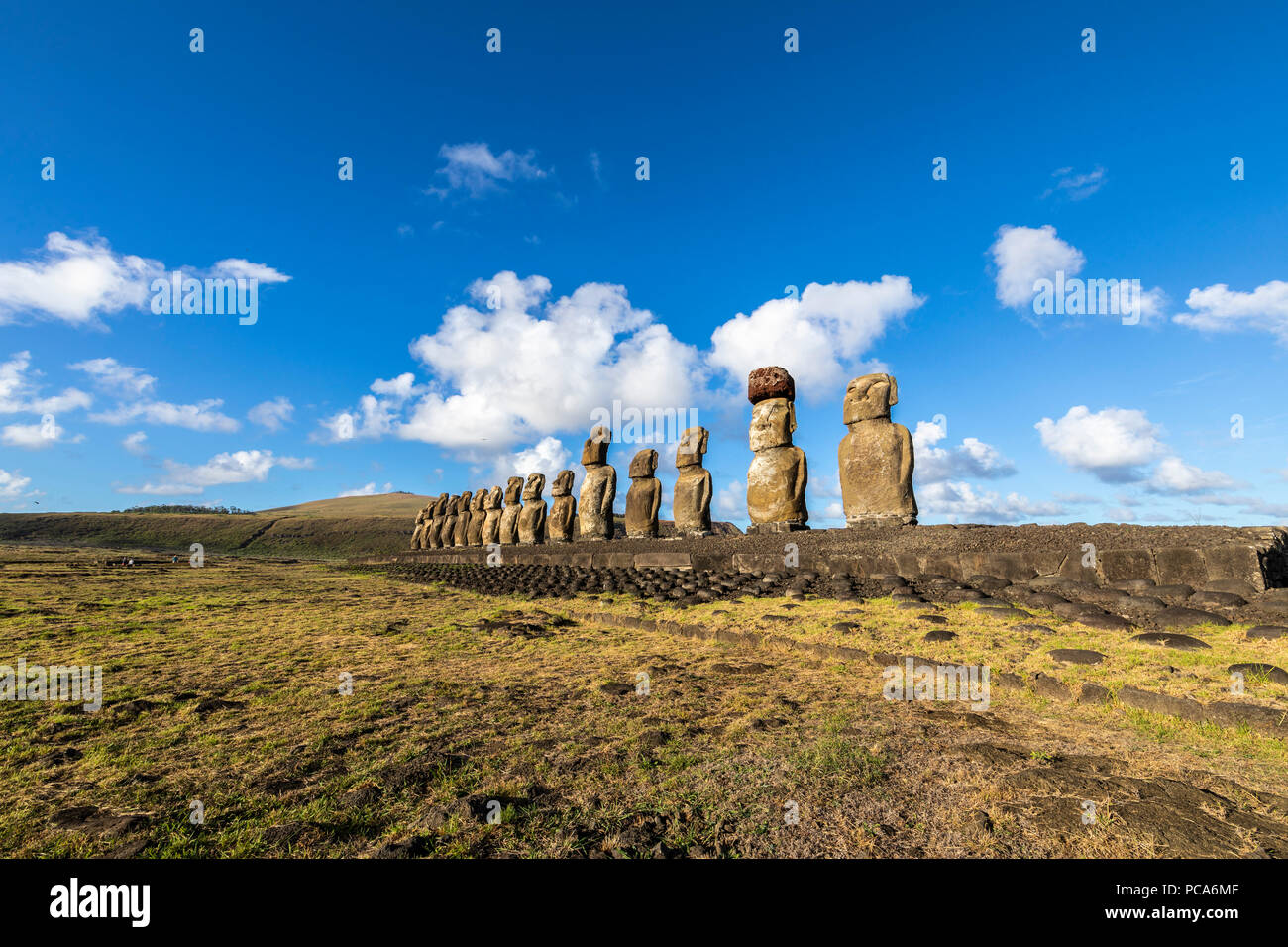 Ahu Tongariki, the most amazing Ahu platform on Easter Island. 15 moais still stand up at the south east of the Island. Ahu Tongariki reveals the Moai - Stock Image