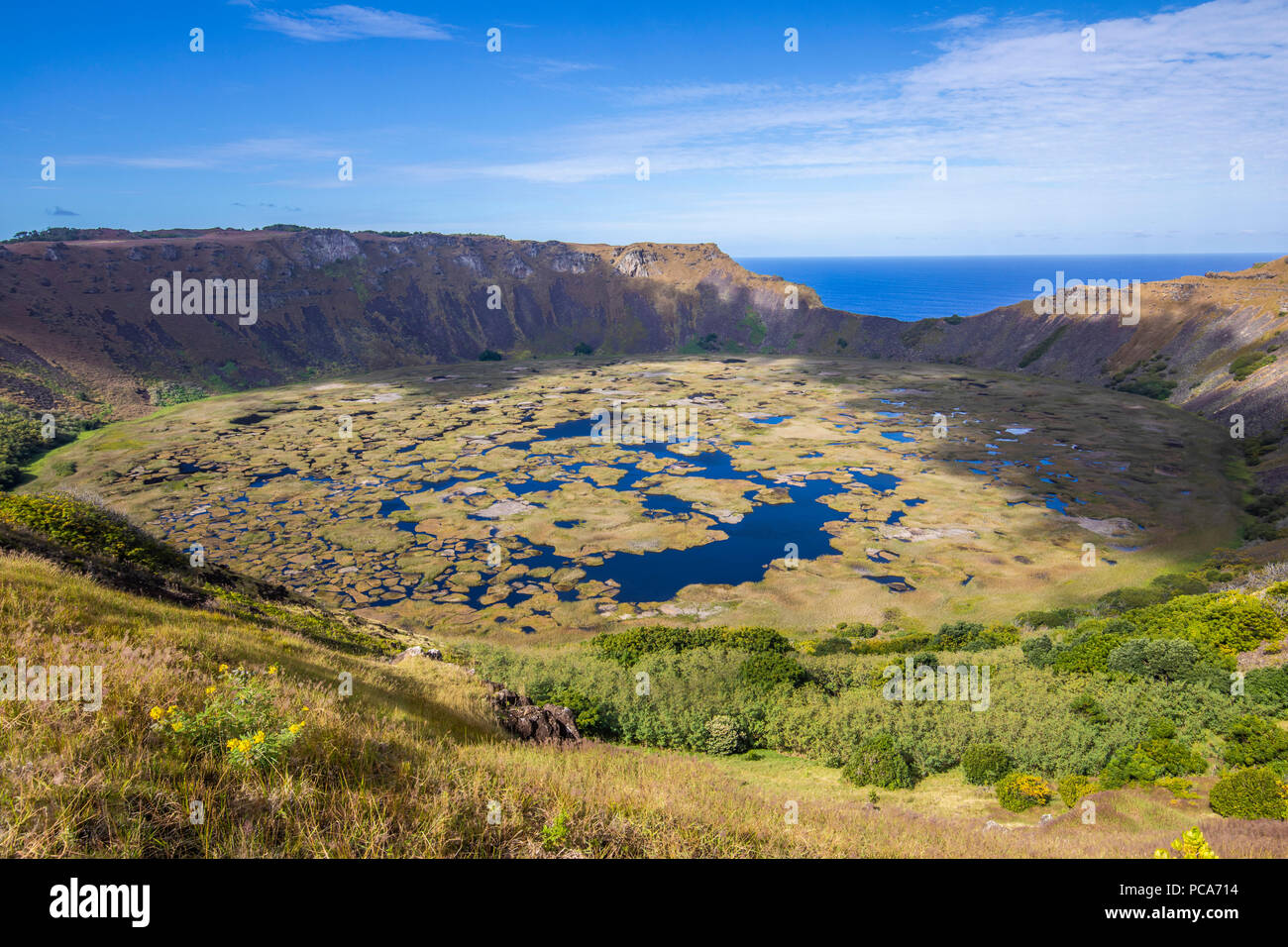 Amazing view over Rano Kau Volcano, maybe the most impressive landscape inside Easter Island. - Stock Image