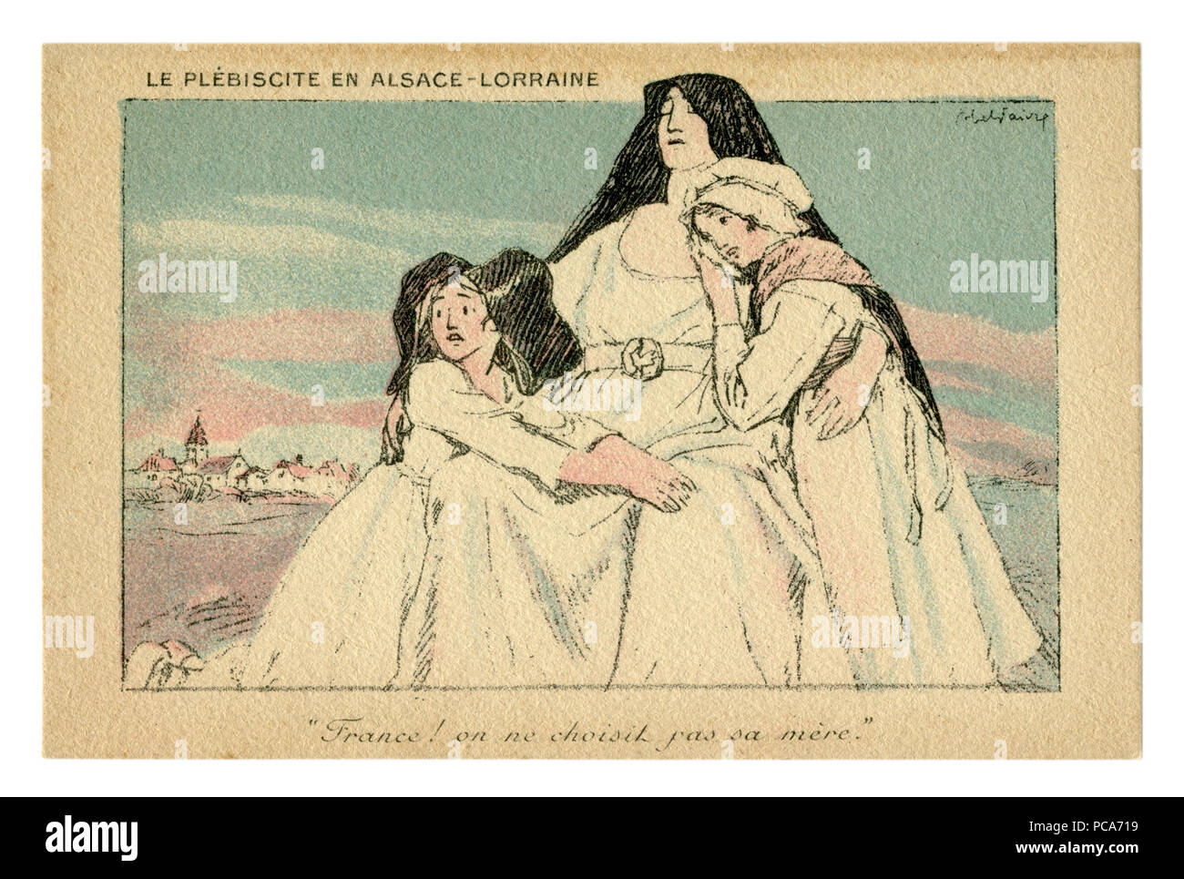 French historical postcard: France liberates Alsace and Lorraine. Allegory. Daughters in mother's arms. Victory! Symbolism. world war one 1914-1918. - Stock Image