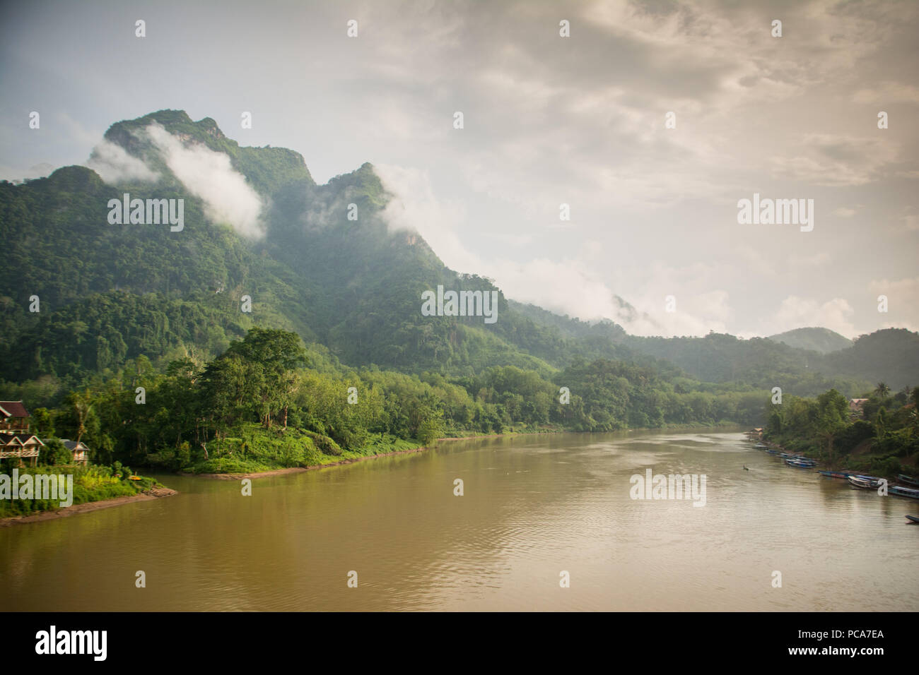 Misty mountains in Nong Khiaw, Laos PDR after the rain. - Stock Image