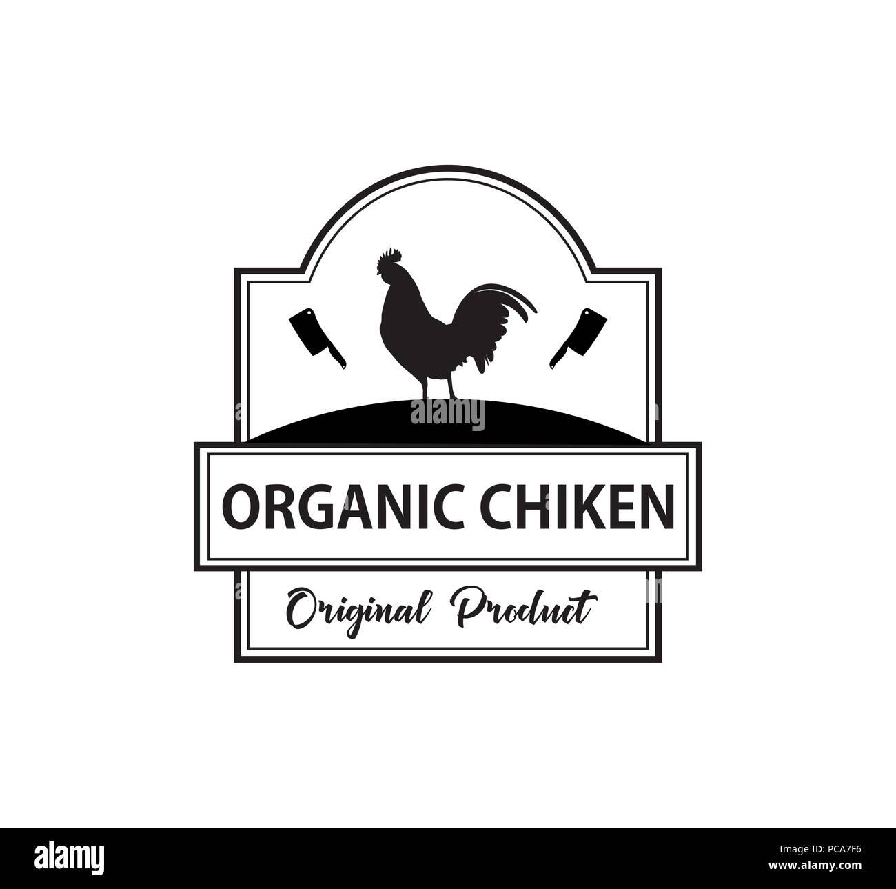 organic chicken meat butchery vector brand label identity design