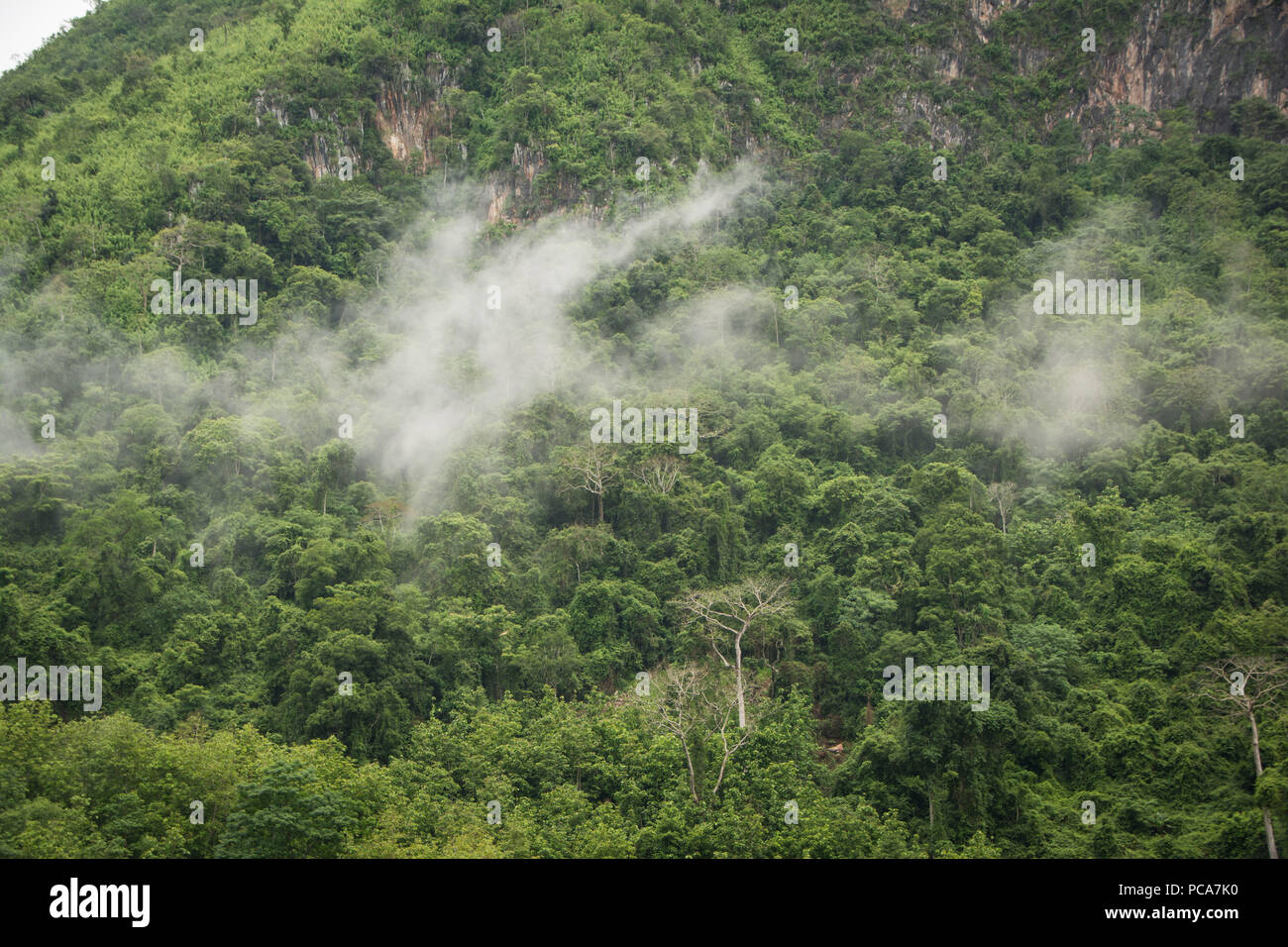 Misty mountains in Nong Khiaw, Laos PDR after the rain. Stock Photo