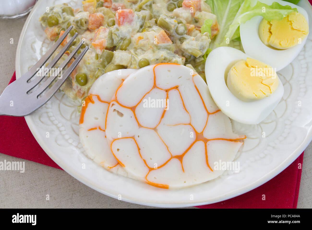 egg, vegetable macedonia and surimi - Stock Image
