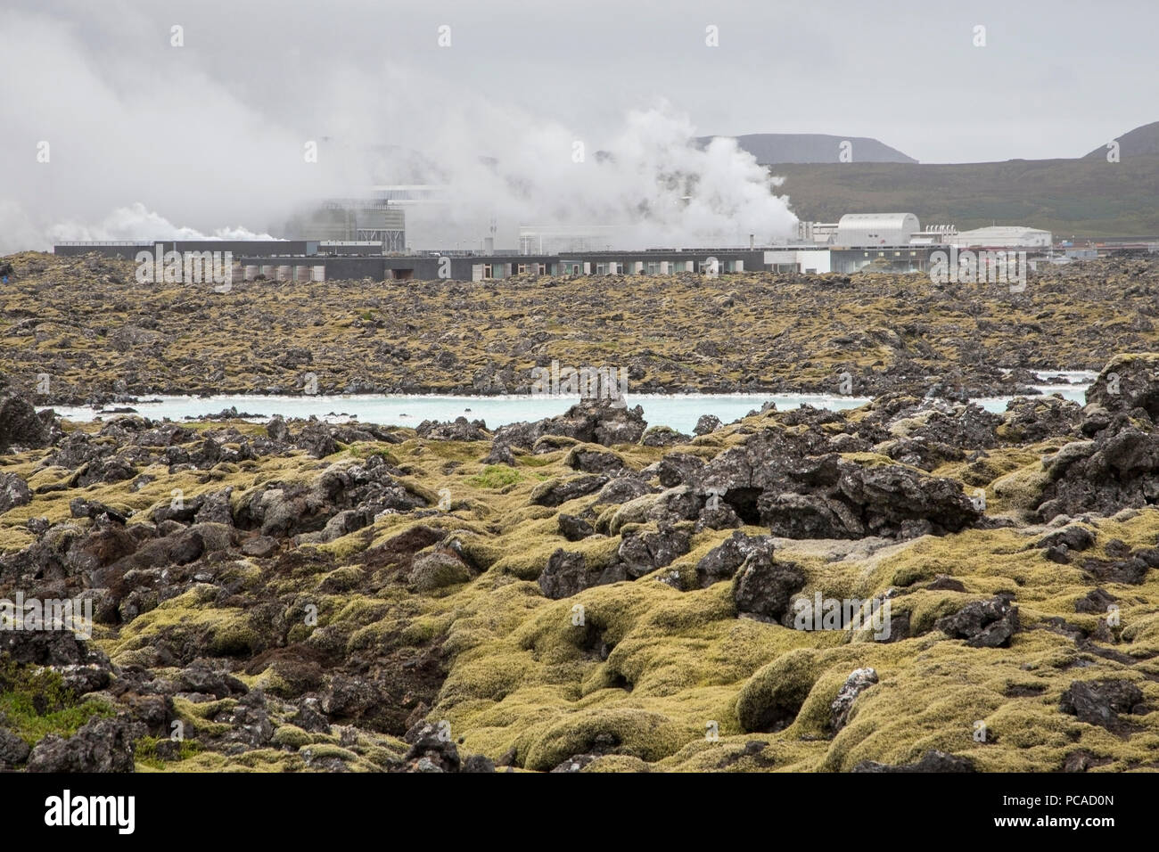 view of blue lagoon, geothermal power station and pools, Iceland - Stock Image