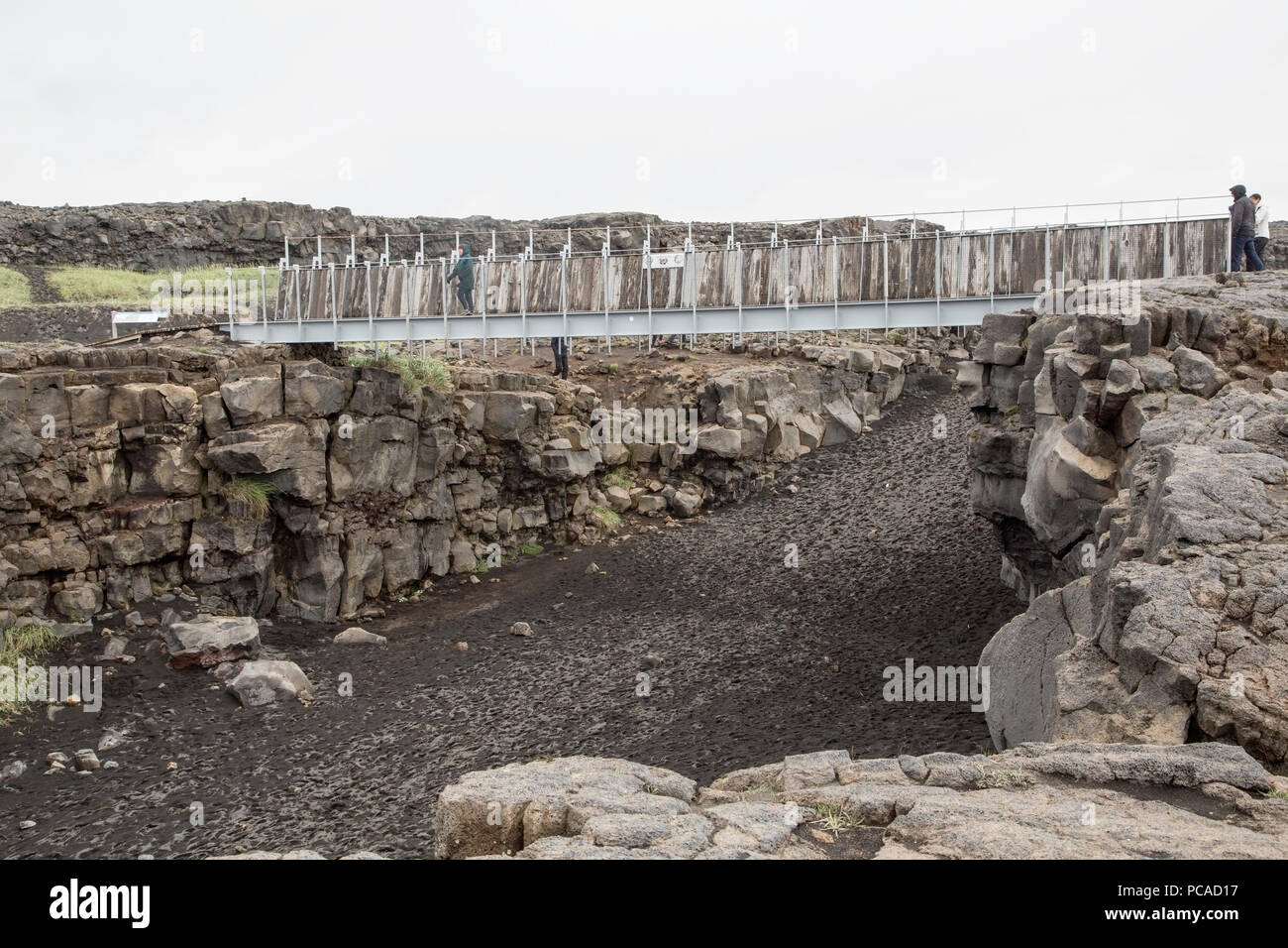 view of area at bridge between the continents in Iceland - Stock Image