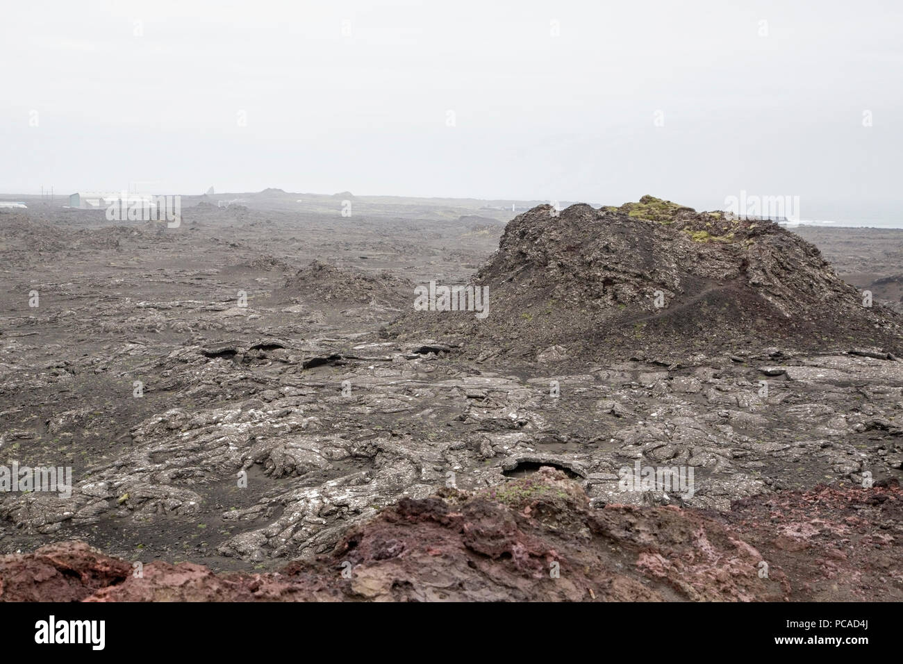 view of barren volcanic landscape in Iceland - Stock Image